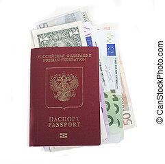 reisepaß, mit, los, von, währung, bargeld, dollar, euro, bereit, reisen