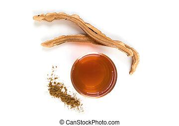 Reishi medical mushroom tea and powder.