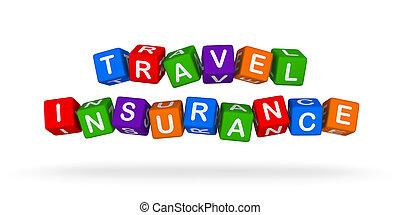 reisverzekering, kleurrijke, teken., veelkleurig, speelbal, blocks.