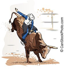 reiten, cowboy, stier