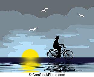 reiten, fahrrad, abend