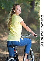 reiten, frau, fahrrad, junger