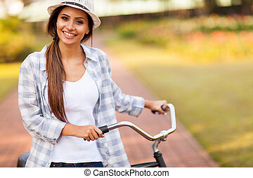 reiten, frau, junger, fahrrad, draußen
