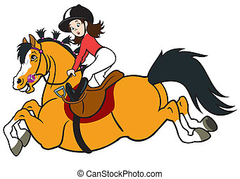 reiten, m�dchen, pferd, karikatur