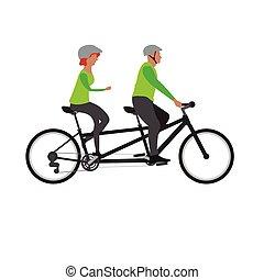 Fahrrad, doppelgänger, frohes ehepaar, reiten. Fahrrad