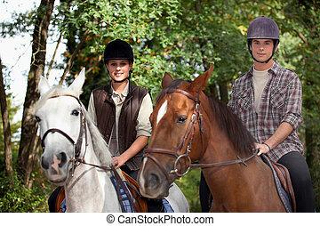 Reiten, Pferd, junger, Leute