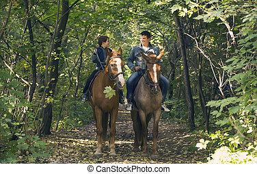 reiten, pferderücken