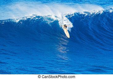 reiten, riesig, surfer, welle