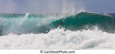reiten, surfer, riesig, furchtlos, welle