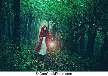 reiten, wenig, wälder, kapuze, rotes