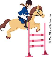 reiter, frau, pferd springen