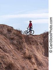 reiter, hindernis, fahrrad, vorher