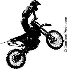 reiter, participates, motocross, championship., vektor,...