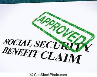 reivindicação, desemprego, selo, mostrando, aprovado,...