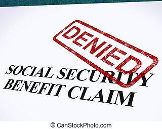 reivindicação, desemprego, selo, mostrando, negado, refused,...