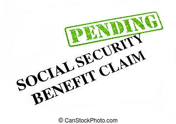 reivindicação, segurança, benefício, pendente, social
