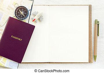 reizen, achtergrond, concept., paspoort, met, schaaf, en, kompas, zetten, op, lege, witte , papier, voor, text., afbeelding, voor, optellen, tekst, message., achtergrond, voor, ontwerp, kunst, work.