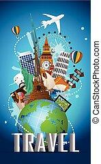 reizen, beroemd, monument, van, de wereld