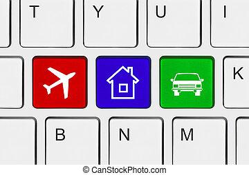 reizen, computer sleutel, toetsenbord