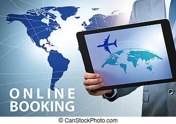 reizen, concept, online, boeking, lucht