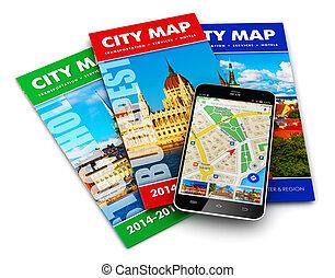 reizen, concept, toerisme, navigatie, navigatiesysteem