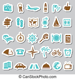 reizen, en, accommodatie, stickers