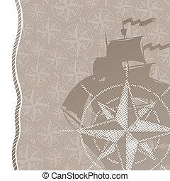 reizen, en, avonturen, vector, achtergrond, met, windroos, &, zeil, scheeps