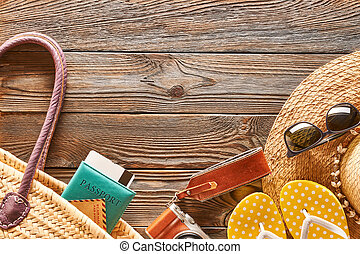 reizen, en, strand, items, stilleven
