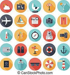 reizen, en, vakantie, plat, iconen, set