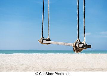 reizen, en, zomer, achtergrond, houten, schommel, op het strand, met, wit zand, turkoois, water, en blauw, sky., vrijheid, leven, verslappen, time., afbeelding, voor, optellen, tekst, message., achtergrond, voor, ontwerp, kunst, work.