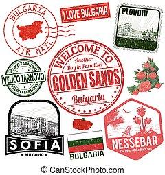 reizen, grunge, postzegels, bulgarije