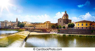 reizen, in, europe;, romantische, aanzicht, in, florence., italy., toscana;, oude stad