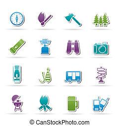 reizen, kamperen, toerisme, iconen