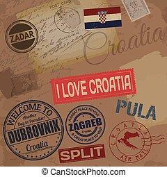 reizen, kroatië, postzegels