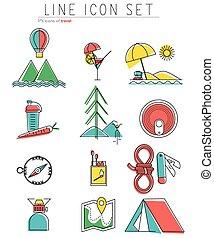 reizen, lijn, iconen, set., buiten, uitrusting, kamperen, symbolen, en, ontwerp, elements., vector, illustratie
