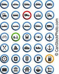 reizen, nautisch, vervoer, iconen