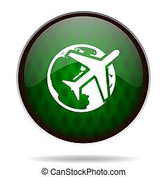 reizen, pictogram, internet, groene