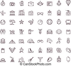 reizen, pictogram, set