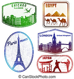 reizen, postzegels, op wit