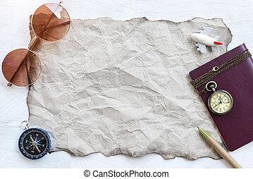 reizen, schaaf, achtergrond, concept., lege, grijze , papier, met, zonnebrillen, kompas, paspoort, broekzak uurwerk, en, pen, op wit, hout, tafel., afbeelding, voor, optellen, tekst, message., achtergrond, voor, ontwerp, kunst, work.