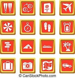 reizen, set, rood, iconen