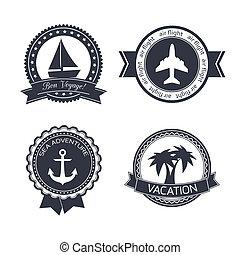 reizen, set, stickers, vakanties