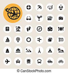 reizen, set, vakantie, iconen