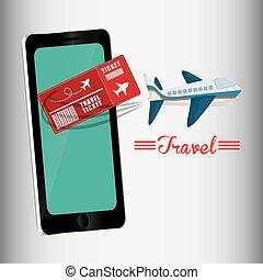 reizen, smartphone, ontwerp, ticket, vliegtuig