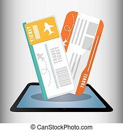 reizen, ticket, online, technologie, digitale