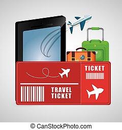 reizen, ticket, smartphone, bagage, vliegtuig, vakantie, handel concept