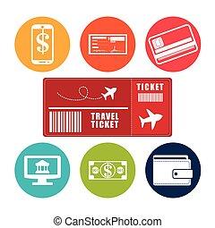 reizen, ticket, toepassing, online, e-handel