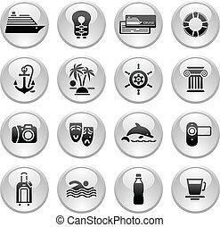 reizen, &, vakantie, pictogram, ontspanning