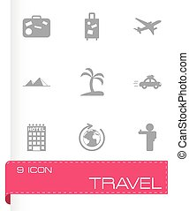 reizen, vector, black , set, iconen