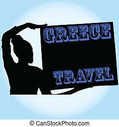 reizen, vector, meisje, illustratie, griekenland